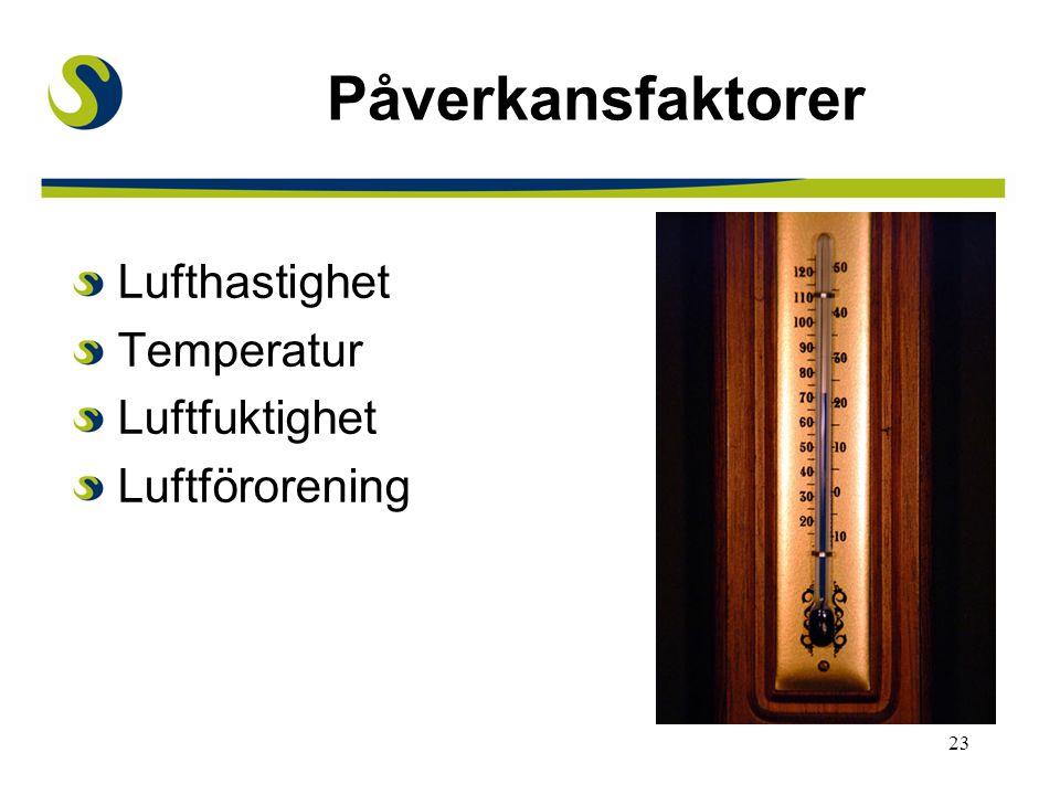 23 Påverkansfaktorer Lufthastighet Temperatur Luftfuktighet Luftföroreningar