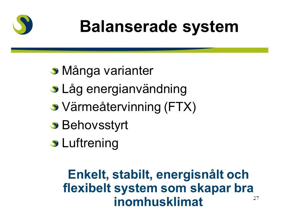 27 Balanserade system Många varianter Låg energianvändning Värmeåtervinning (FTX) Behovsstyrt Luftrening Enkelt, stabilt, energisnålt och flexibelt system som skapar bra inomhusklimat