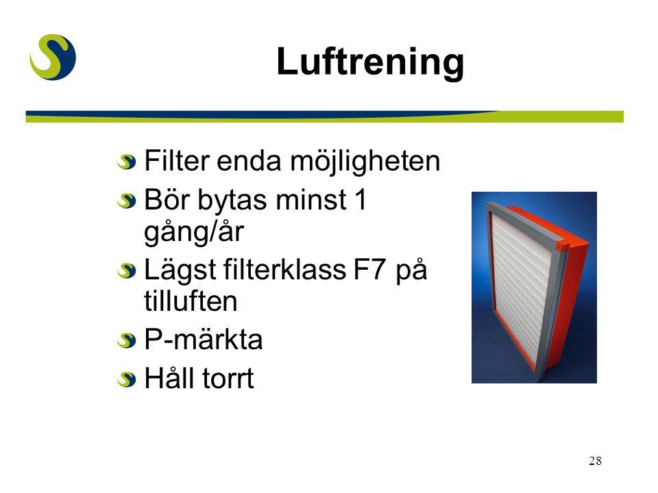 28 Luftrening Filter enda möjligheten Bör bytas minst 1 gång/år Lägst filterklass F7 på tilluften P-märkta Håll torrt