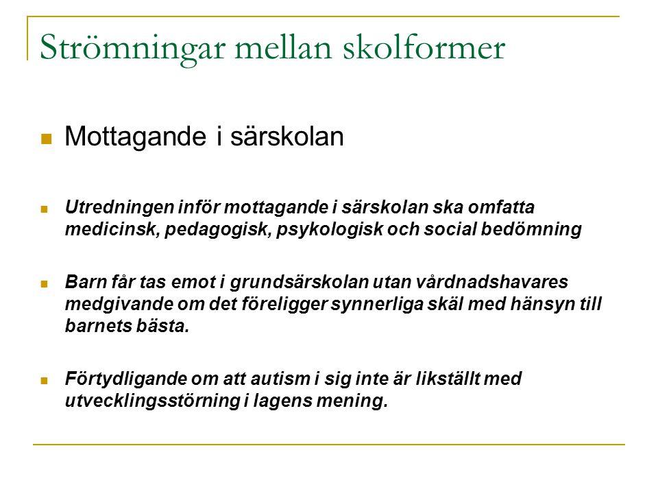 Strömningar mellan skolformer  Mottagande i särskolan  Utredningen inför mottagande i särskolan ska omfatta medicinsk, pedagogisk, psykologisk och s