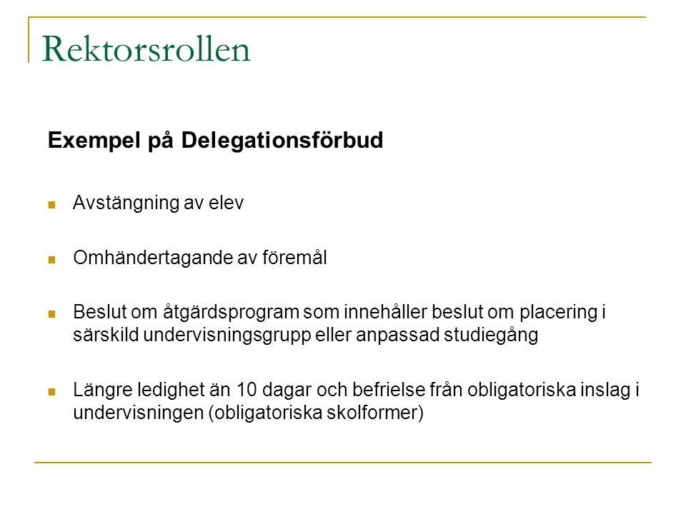 Rektorsrollen Exempel på Delegationsförbud  Avstängning av elev  Omhändertagande av föremål  Beslut om åtgärdsprogram som innehåller beslut om plac