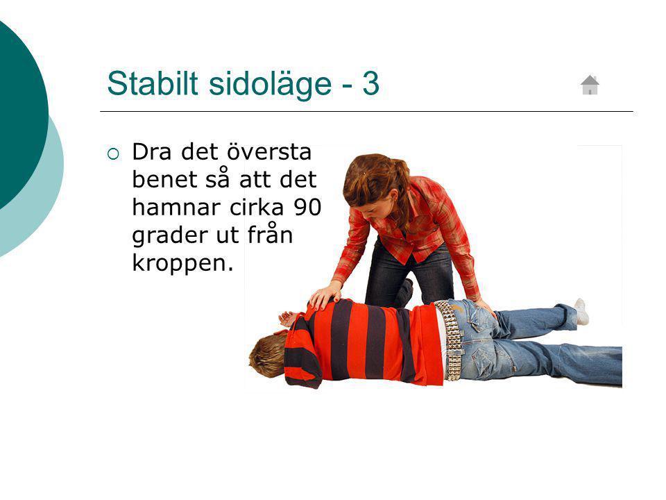 Stabilt sidoläge - 3  Dra det översta benet så att det hamnar cirka 90 grader ut från kroppen.