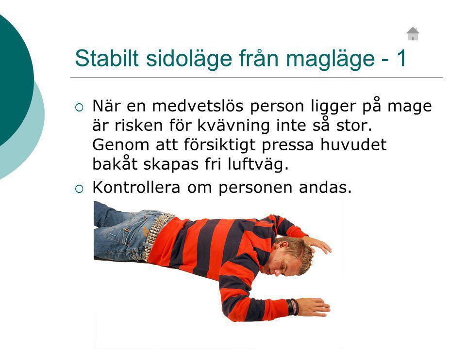 Stabilt sidoläge från magläge - 1  När en medvetslös person ligger på mage är risken för kvävning inte så stor.