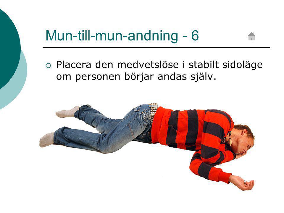Mun-till-mun-andning - 6  Placera den medvetslöse i stabilt sidoläge om personen börjar andas själv.