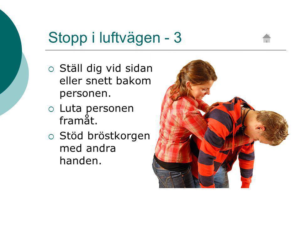 Stopp i luftvägen - 3  Ställ dig vid sidan eller snett bakom personen.
