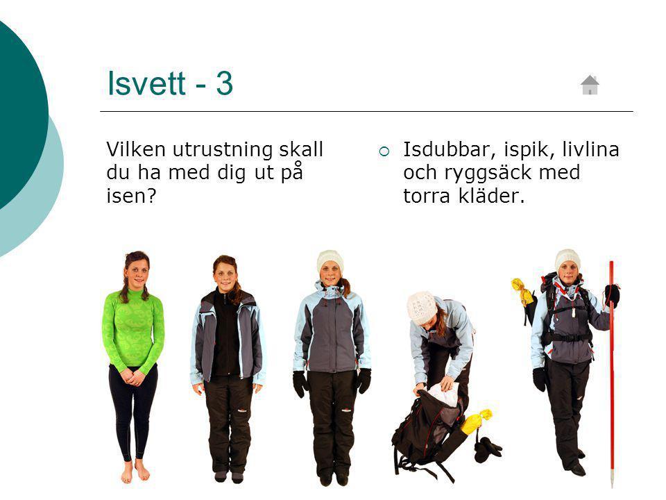 Isvett - 3 Vilken utrustning skall du ha med dig ut på isen.