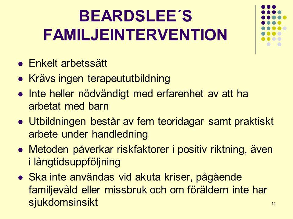 14 BEARDSLEE´S FAMILJEINTERVENTION  Enkelt arbetssätt  Krävs ingen terapeututbildning  Inte heller nödvändigt med erfarenhet av att ha arbetat med