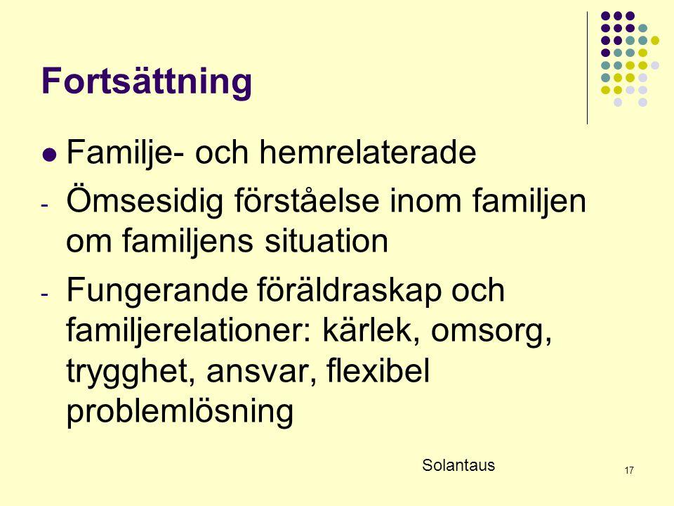 17 Fortsättning  Familje- och hemrelaterade - Ömsesidig förståelse inom familjen om familjens situation - Fungerande föräldraskap och familjerelation