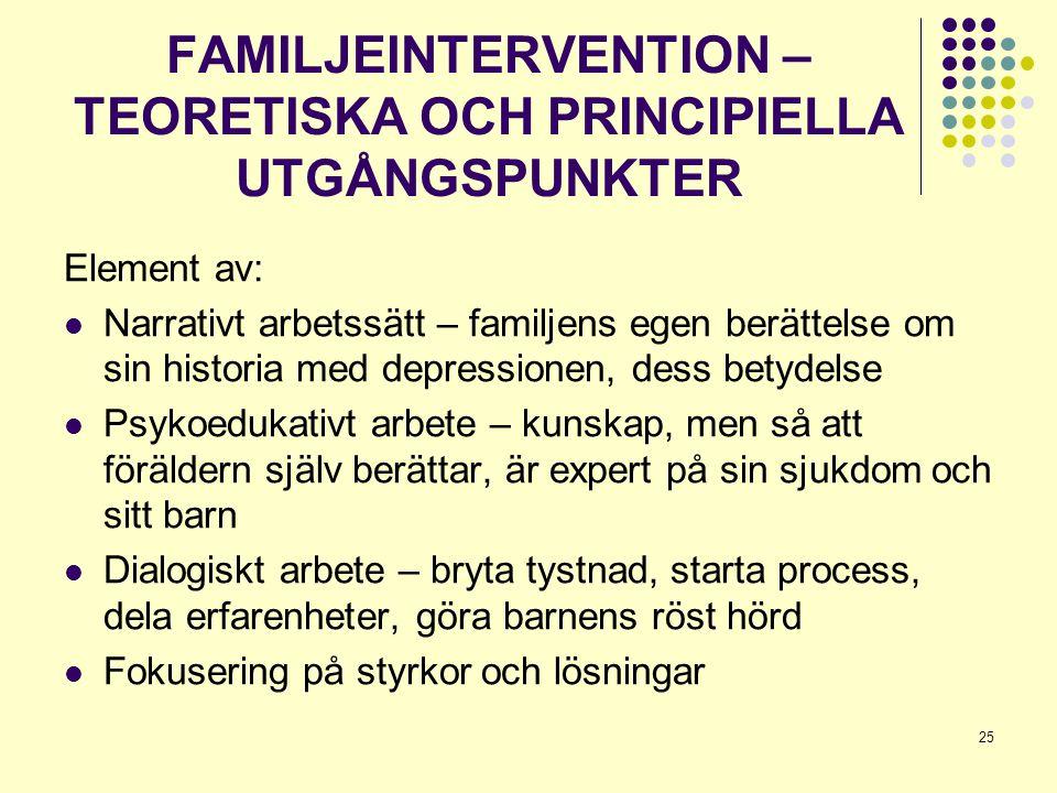 25 FAMILJEINTERVENTION – TEORETISKA OCH PRINCIPIELLA UTGÅNGSPUNKTER Element av:  Narrativt arbetssätt – familjens egen berättelse om sin historia med