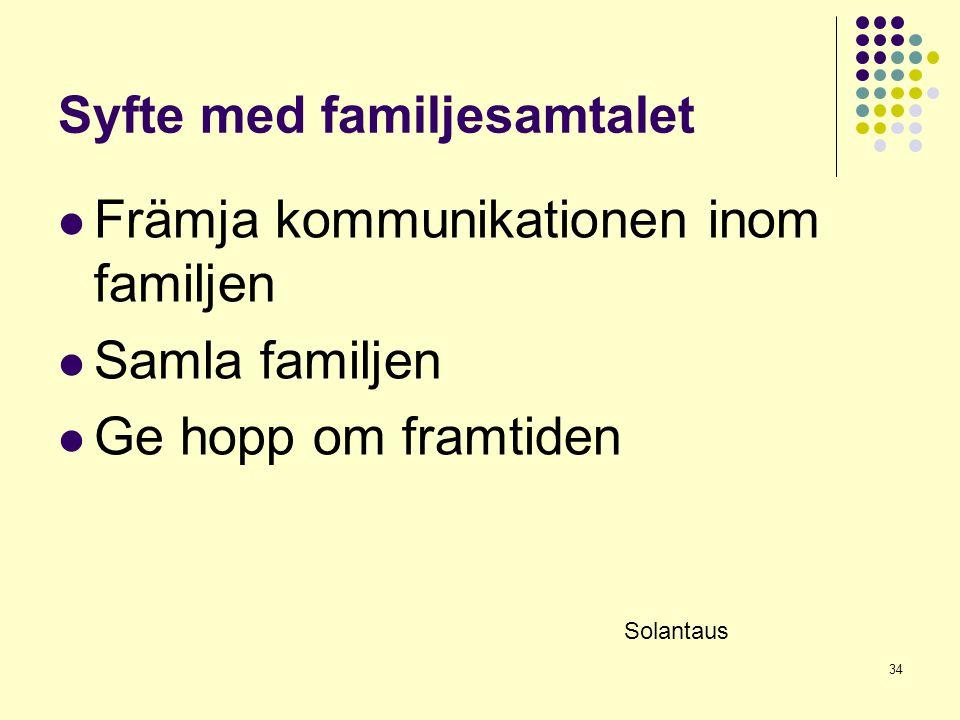 34 Syfte med familjesamtalet  Främja kommunikationen inom familjen  Samla familjen  Ge hopp om framtiden Solantaus