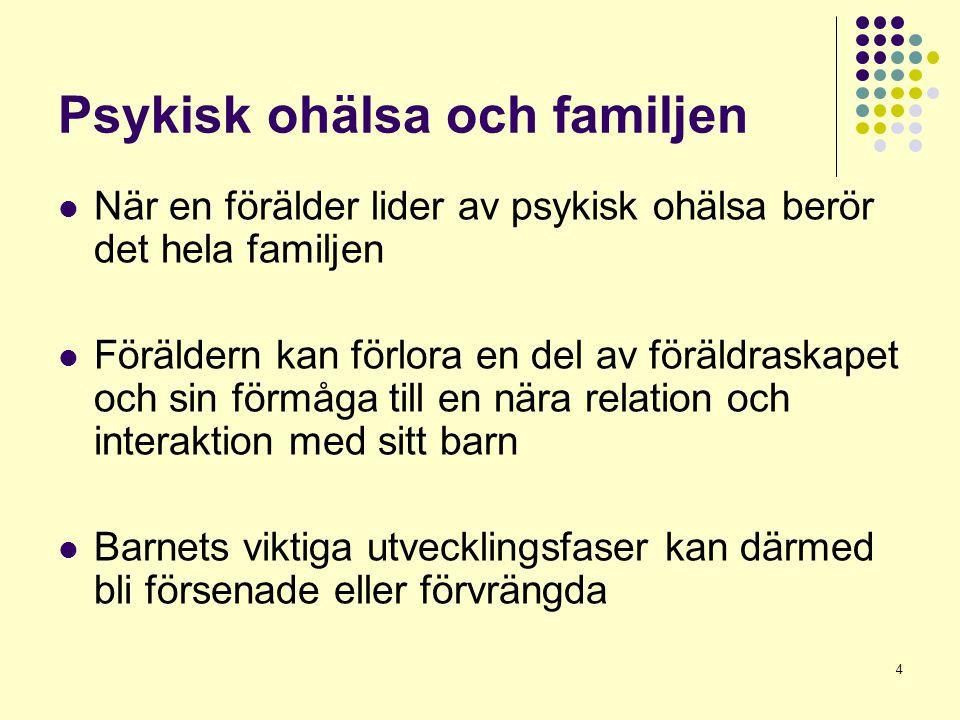 4 Psykisk ohälsa och familjen  När en förälder lider av psykisk ohälsa berör det hela familjen  Föräldern kan förlora en del av föräldraskapet och s