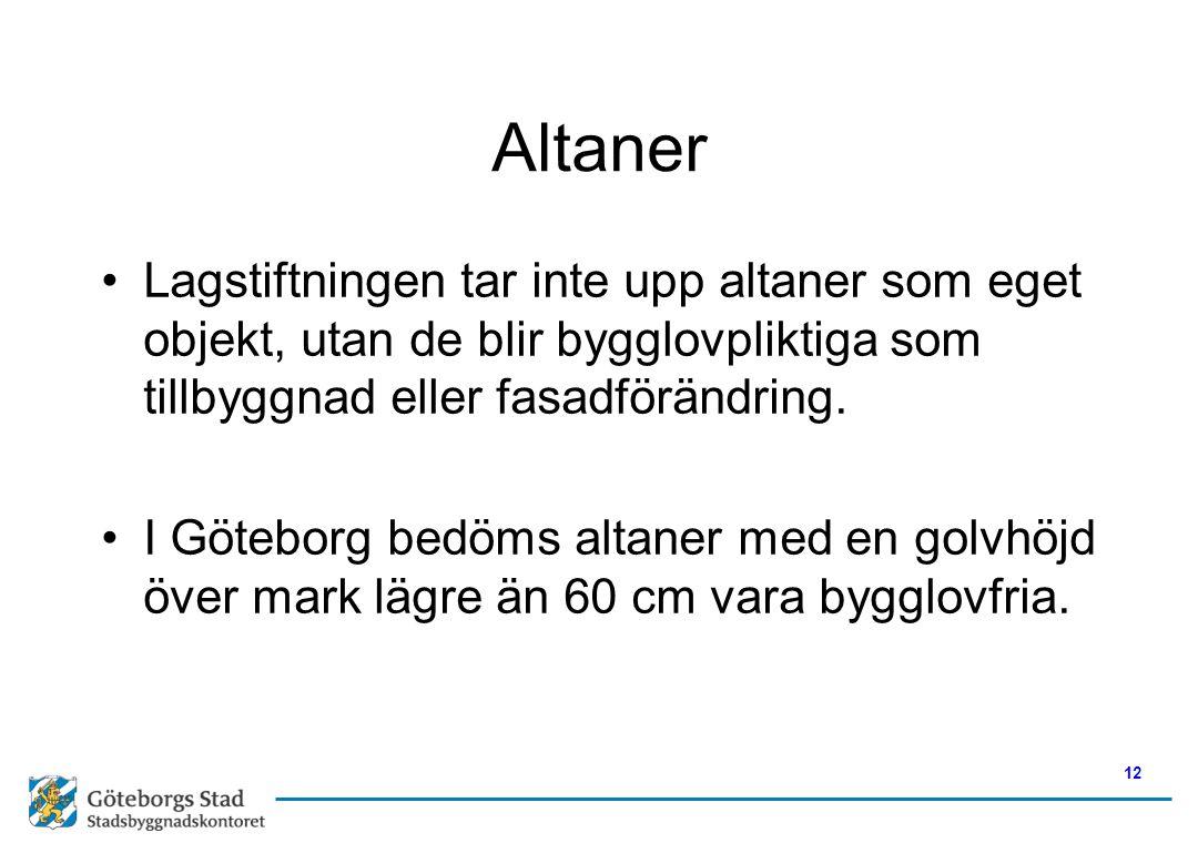 Altaner •Lagstiftningen tar inte upp altaner som eget objekt, utan de blir bygglovpliktiga som tillbyggnad eller fasadförändring. •I Göteborg bedöms a