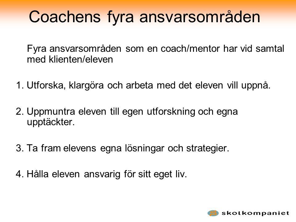 Coachens fyra ansvarsområden Fyra ansvarsområden som en coach/mentor har vid samtal med klienten/eleven 1. Utforska, klargöra och arbeta med det eleve