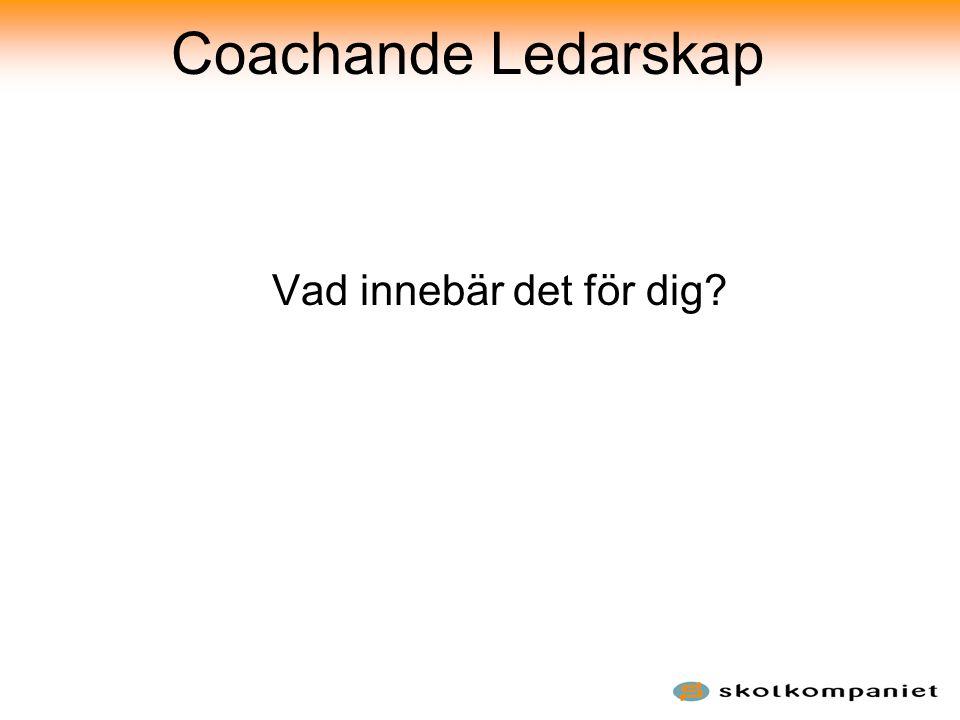 Coachande ledarskap Att leda handlar inte om att dominera utan om att lyfta de jag leder.