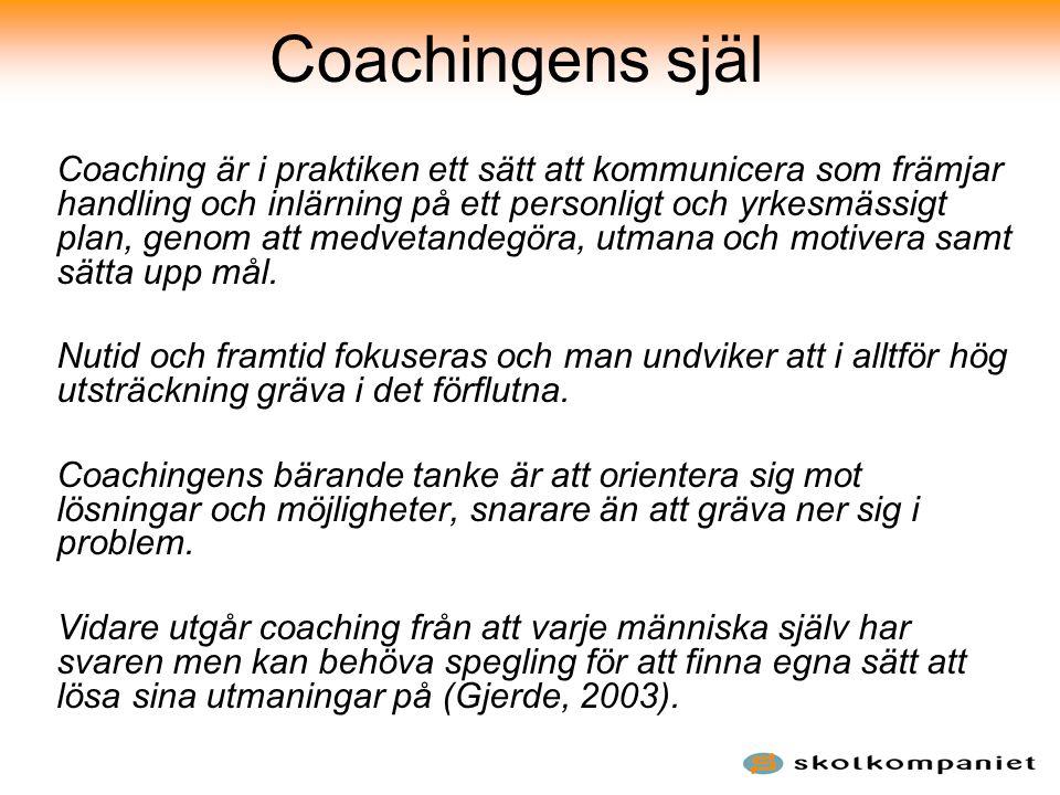 Coachingens själ Coaching är i praktiken ett sätt att kommunicera som främjar handling och inlärning på ett personligt och yrkesmässigt plan, genom at