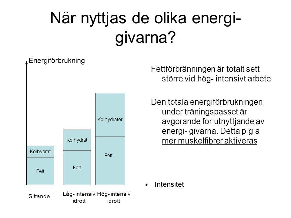 När nyttjas de olika energi- givarna? Fettförbränningen är totalt sett större vid hög- intensivt arbete Den totala energiförbrukningen under träningsp