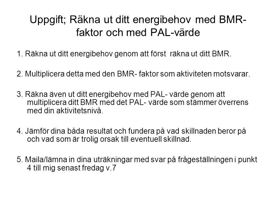 Uppgift; Räkna ut ditt energibehov med BMR- faktor och med PAL-värde 1. Räkna ut ditt energibehov genom att först räkna ut ditt BMR. 2. Multiplicera d