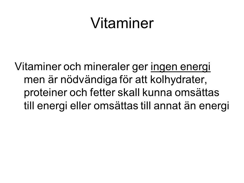 Vitaminer Vitaminer och mineraler ger ingen energi men är nödvändiga för att kolhydrater, proteiner och fetter skall kunna omsättas till energi eller