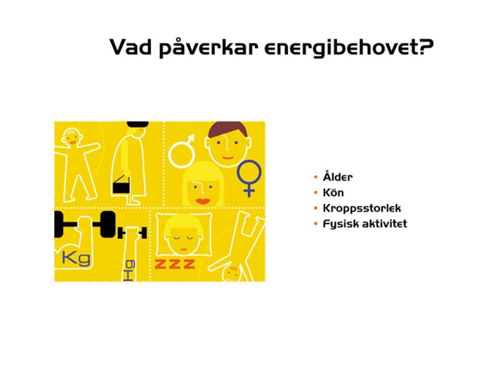Energienheter Kilokalori= kcal Kilojoule= KJ 1 kcal= 4,2 KJ