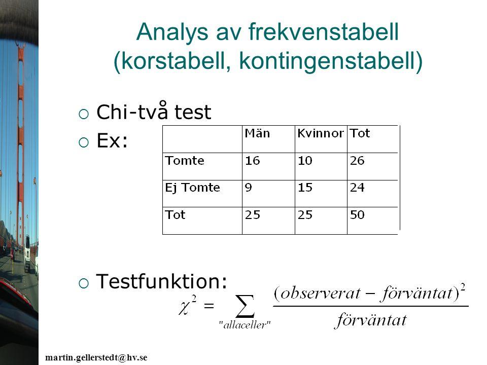 martin.gellerstedt@hv.se Analys av frekvenstabell (korstabell, kontingenstabell)  Chi-två test  Ex:  Testfunktion: