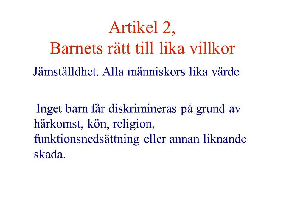 Artikel 2, Barnets rätt till lika villkor Jämställdhet.