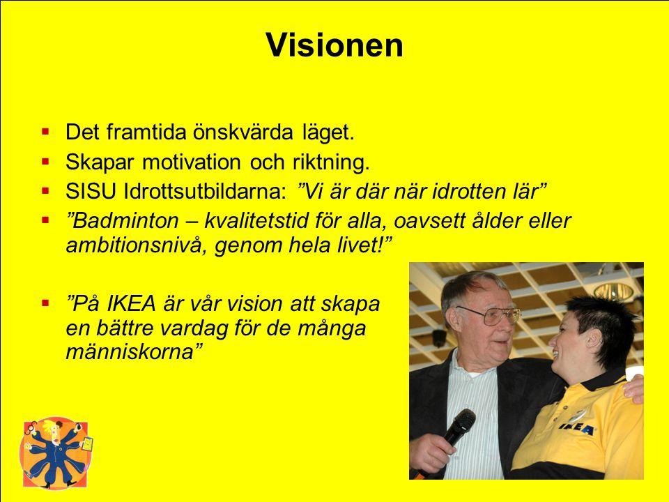 """Visionen  Det framtida önskvärda läget.  Skapar motivation och riktning.  SISU Idrottsutbildarna: """"Vi är där när idrotten lär""""  """"Badminton – kvali"""