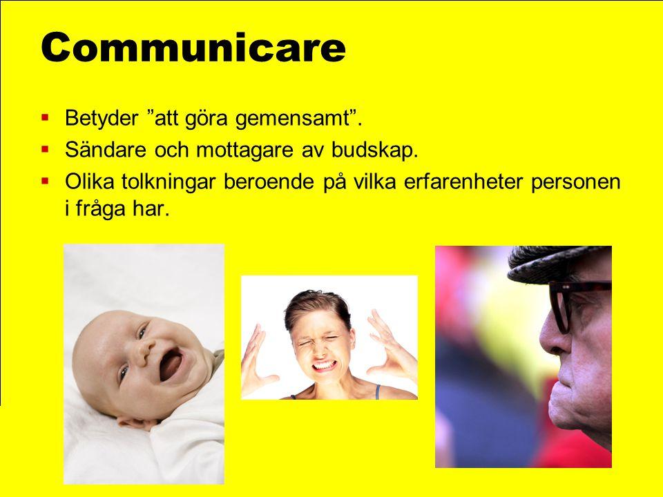 """Communicare  Betyder """"att göra gemensamt"""".  Sändare och mottagare av budskap.  Olika tolkningar beroende på vilka erfarenheter personen i fråga har"""