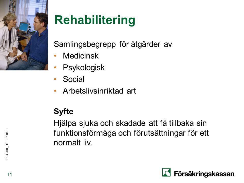 FK 4200_OH 061013 11 Rehabilitering Samlingsbegrepp för åtgärder av •Medicinsk •Psykologisk •Social •Arbetslivsinriktad art Syfte Hjälpa sjuka och skadade att få tillbaka sin funktionsförmåga och förutsättningar för ett normalt liv.