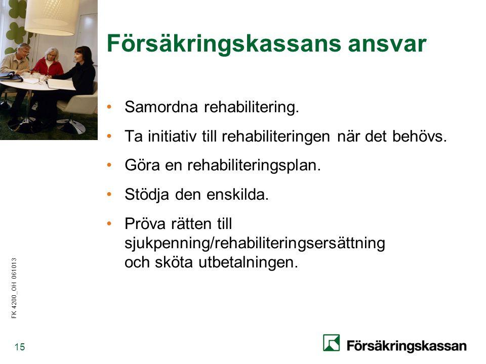 FK 4200_OH 061013 15 Försäkringskassans ansvar •Samordna rehabilitering.
