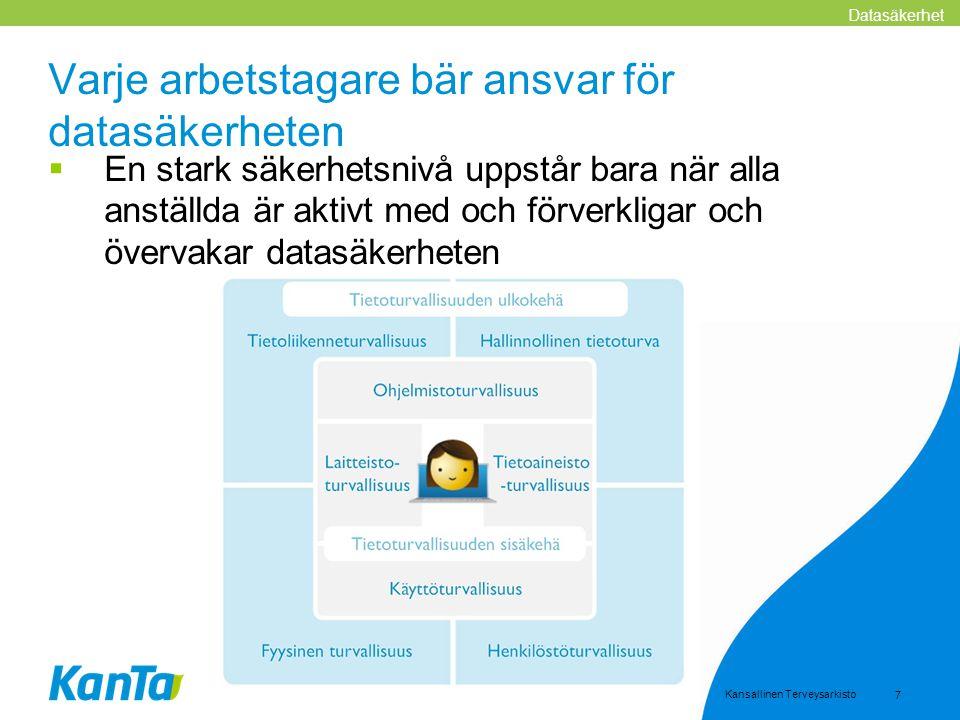 Kansallinen Terveysarkisto 7 Varje arbetstagare bär ansvar för datasäkerheten  En stark säkerhetsnivå uppstår bara när alla anställda är aktivt med o