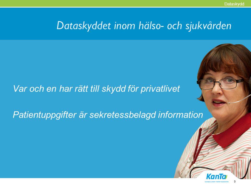 Var och en har rätt till skydd för privatlivet Patientuppgifter är sekretessbelagd information 9 Dataskydd