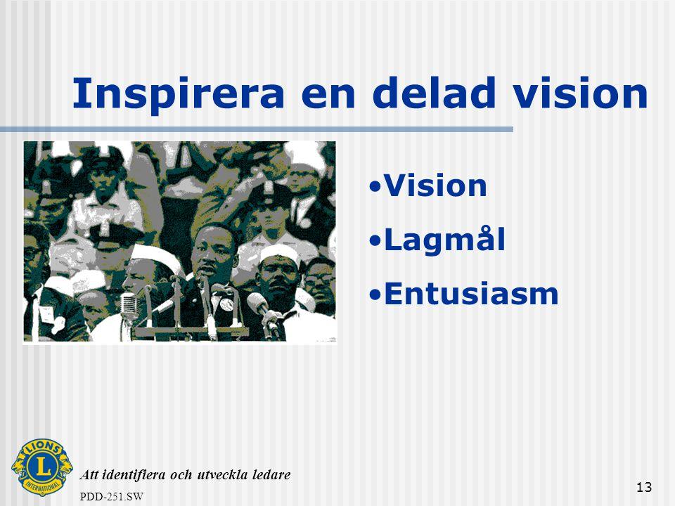 Att identifiera och utveckla ledare PDD-251.SW 13 Inspirera en delad vision •Vision •Lagmål •Entusiasm