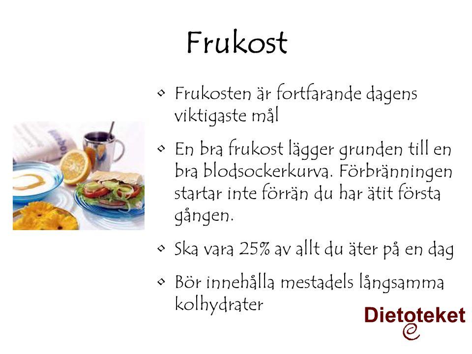 Frukost •Frukosten är fortfarande dagens viktigaste mål •En bra frukost lägger grunden till en bra blodsockerkurva. Förbränningen startar inte förrän