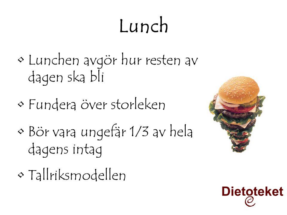 Lunch •Lunchen avgör hur resten av dagen ska bli •Fundera över storleken •Bör vara ungefär 1/3 av hela dagens intag •Tallriksmodellen Dietoteket