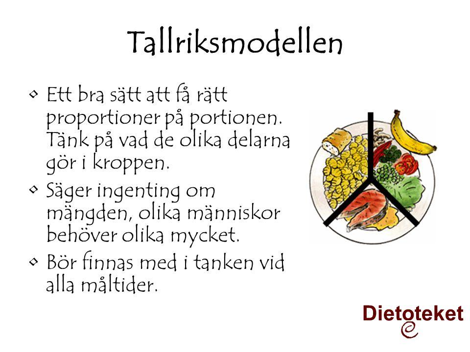 Tallriksmodellen •Ett bra sätt att få rätt proportioner på portionen. Tänk på vad de olika delarna gör i kroppen. •Säger ingenting om mängden, olika m