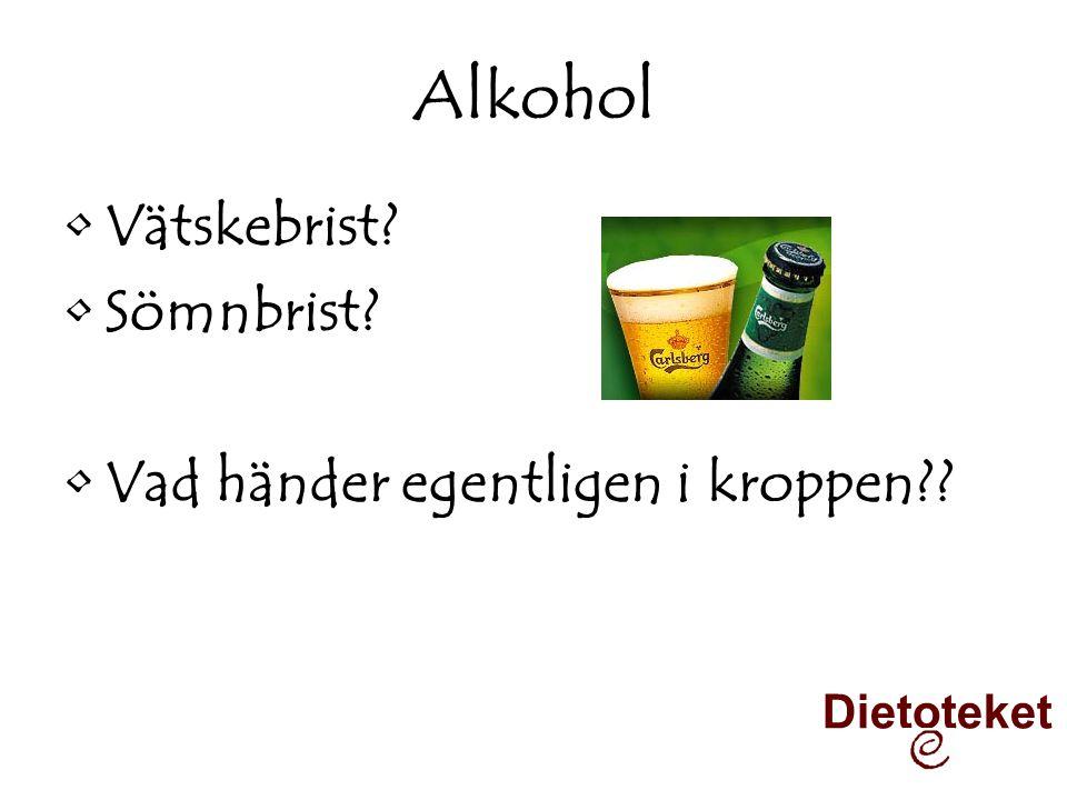 Alkohol •Vätskebrist? •Sömnbrist? •Vad händer egentligen i kroppen?? Dietoteket