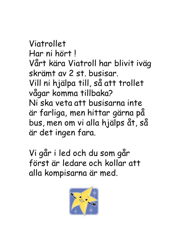 Viatrollet Har ni hört ! Vårt kära Viatroll har blivit iväg skrämt av 2 st. busisar. Vill ni hjälpa till, så att trollet vågar komma tillbaka? Ni ska