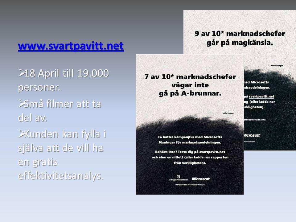 www.svartpavitt.net  18 April till 19.000 personer.  Små filmer att ta del av.  Kunden kan fylla i själva att de vill ha en gratis effektivitetsana