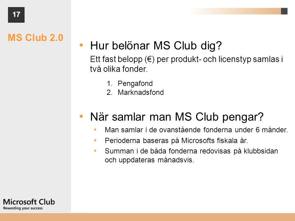17 MS Club 2.0 • Hur belönar MS Club dig? Ett fast belopp (€) per produkt- och licenstyp samlas i två olika fonder. 1.Pengafond 2.Marknadsfond • När s