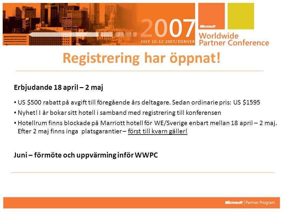Erbjudande 18 april – 2 maj • US $500 rabatt på avgift till föregående års deltagare. Sedan ordinarie pris: US $1595 • Nyhet! I år bokar sitt hotell i