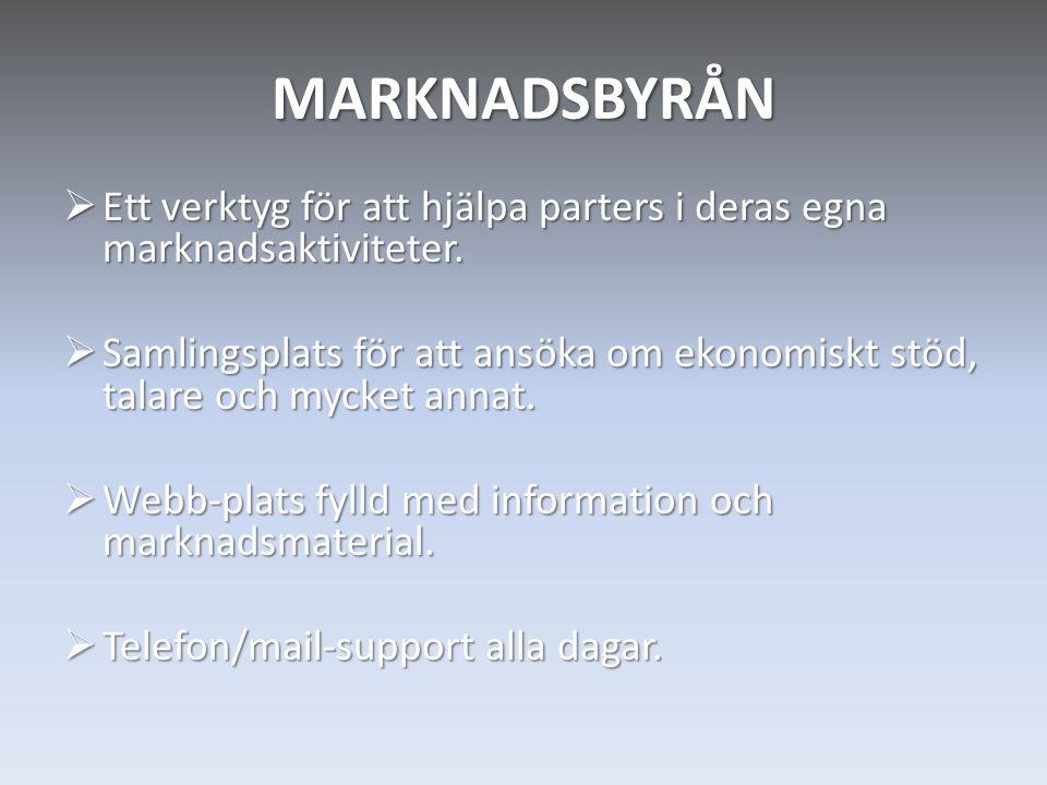 MARKNADSBYRÅN  Ett verktyg för att hjälpa parters i deras egna marknadsaktiviteter.  Samlingsplats för att ansöka om ekonomiskt stöd, talare och myc