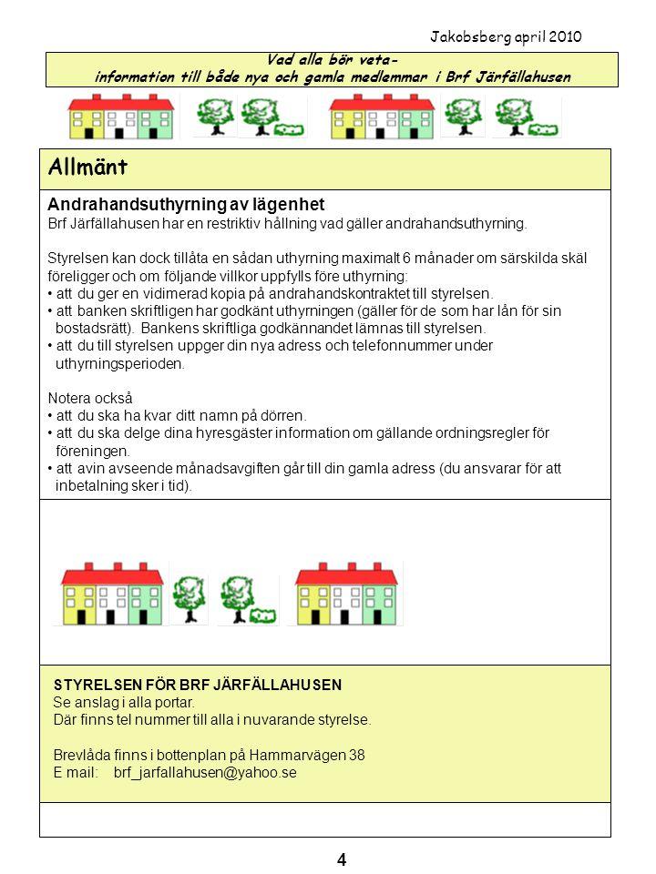 Vad alla bör veta- information till både nya och gamla medlemmar i Brf Järfällahusen Jakobsberg april 2010 Allmänt Andrahandsuthyrning av lägenhet Brf