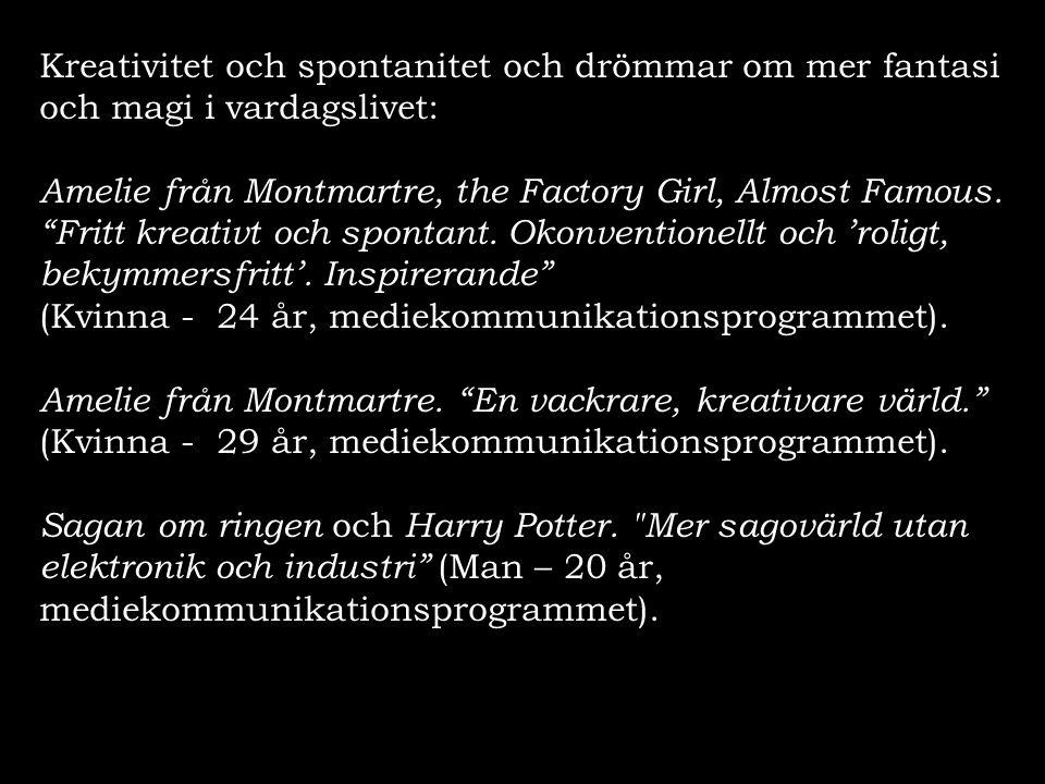 """Kreativitet och spontanitet och drömmar om mer fantasi och magi i vardagslivet: Amelie från Montmartre, the Factory Girl, Almost Famous. """"Fritt kreati"""