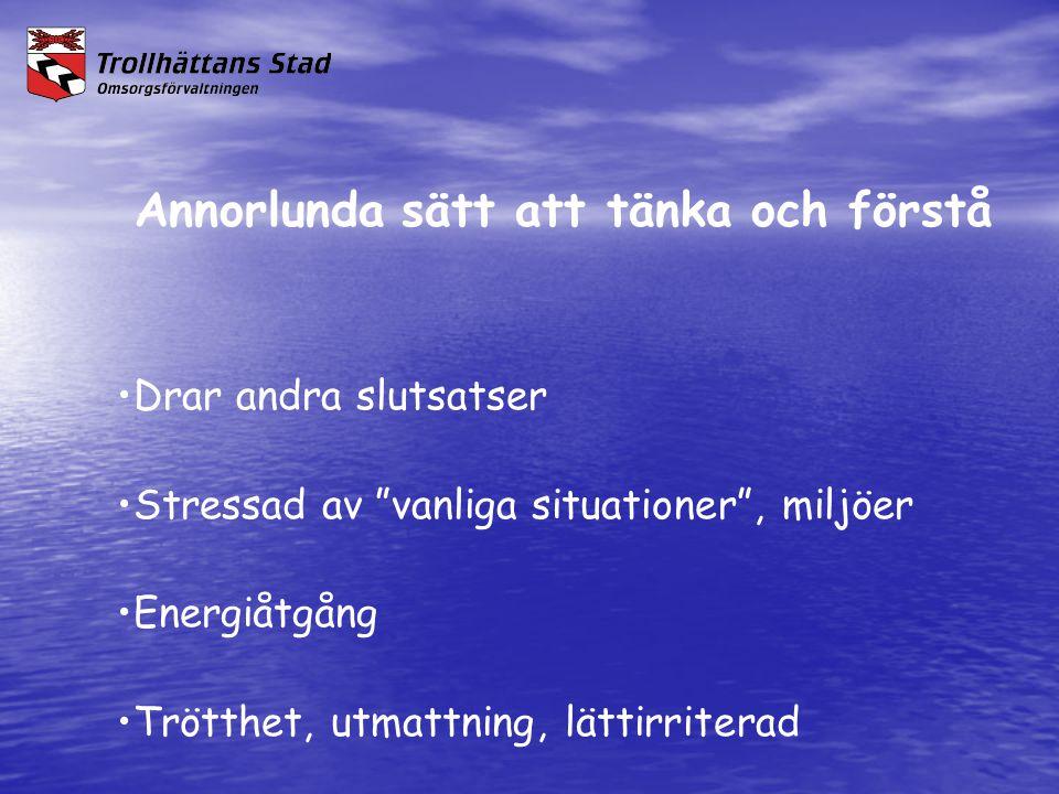 """Annorlunda sätt att tänka och förstå •Drar andra slutsatser •Stressad av """"vanliga situationer"""", miljöer •Energiåtgång •Trötthet, utmattning, lättirrit"""