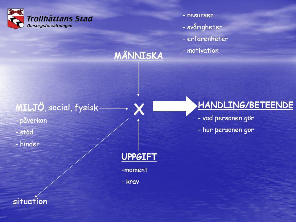 - resurser - svårigheter - erfarenheter - motivation MÄNNISKA X HANDLING/BETEENDE - vad personen gör - hur personen gör MILJÖ, social, fysisk - påverk