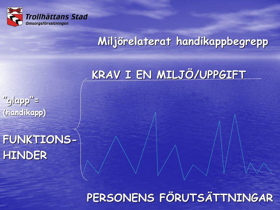 """Miljörelaterat handikappbegrepp Miljörelaterat handikappbegrepp KRAV I EN MILJÖ/UPPGIFT KRAV I EN MILJÖ/UPPGIFT""""glapp""""=(handikapp)FUNKTIONS-HINDER PER"""