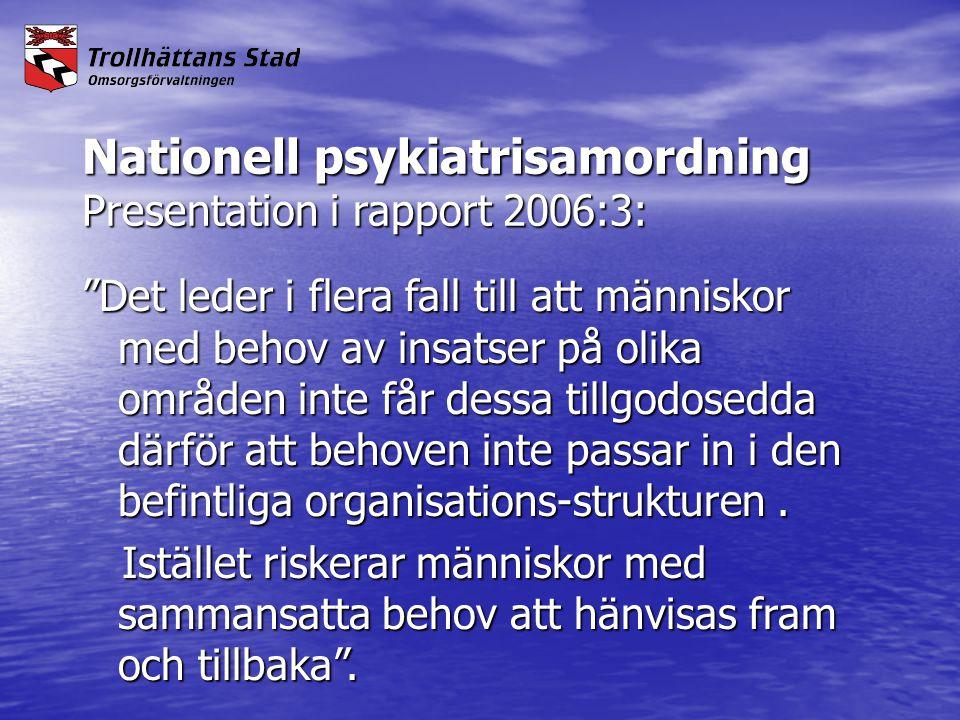 """Nationell psykiatrisamordning Presentation i rapport 2006:3: """"Det leder i flera fall till att människor med behov av insatser på olika områden inte få"""
