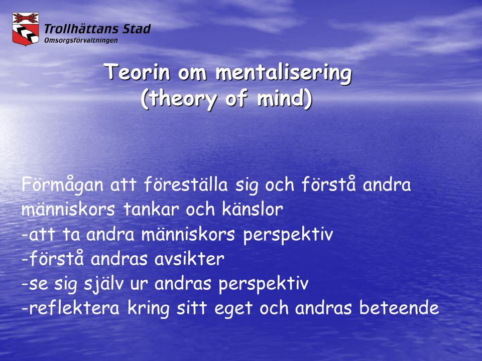 Teorin om mentalisering vad kan vara svårt för en person med AST Teorin om mentalisering vad kan vara svårt för en person med AST -att förstå andras känslor -att räkna ut vad andra vet och kan -att avläsa andras avsikter -att avläsa lyssnarens intresse för det man talar om -att förstå ord som kan tolkas bokstavligt -att förstå missförstånd -att vara oärlig och att förstå oärlighet -att förstå de bakomliggande orsakerna till andras agerande