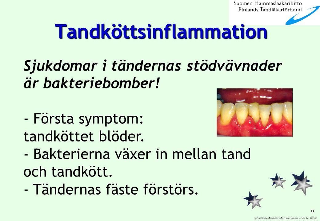 9 x:\ar\kalvot\ikäihmisten kampanja,r/SK 12.10.99 Sjukdomar i tändernas stödvävnader är bakteriebomber! - Första symptom: tandköttet blöder. - Bakteri