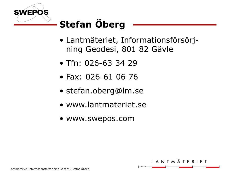 Lantmäteriet, Informationsförsörjning Geodesi, Stefan Öberg Tips & Trix vid RTK-mätning Användarseminarium Gute-RTK Suderbys Herrgård, 16 november 2006 Stefan Öberg